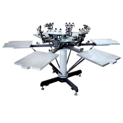 rotary clothes 6-color manual screen printing machine with simple working table