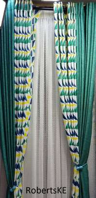printed green classy curtain image 1