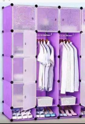 3 column purple plastic wardrobe image 1