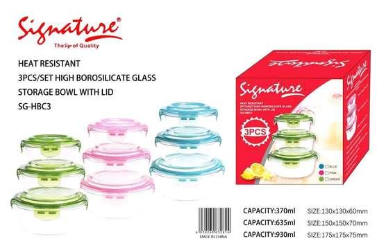 3Pcs heat resistant bowls with lids image 1