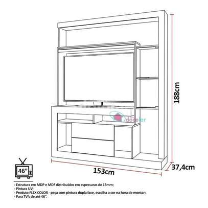 TV Wall Unit Rack ( Entertainment Unit Siberian ) -  for up to 46 inch TV image 5