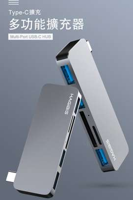 HAGiBiS aluminum alloy 5-in-1 (dual head) USB2.0*2+USB3.0+HDMI+Thunderbolt3(DC6H) image 1
