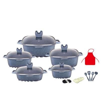 22pcs Dessini non stick square pot cookware set image 1