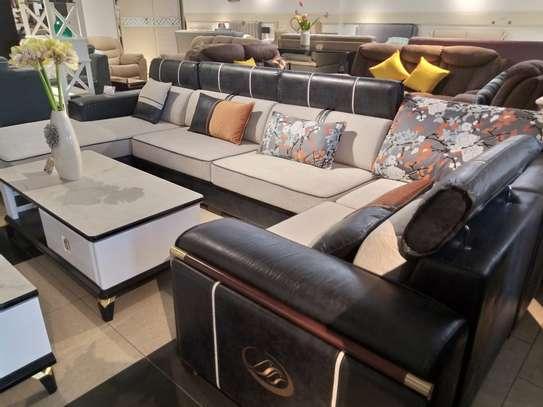 Fabric & leather corner sofa image 2