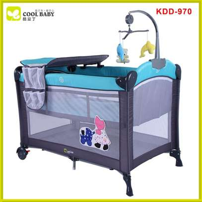 Blue Baby Cot Playpen Baby Crib With Changing Station And Toys image 1