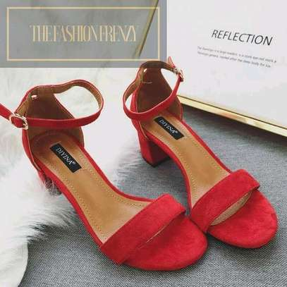Red Low Heel Chunky Sandals