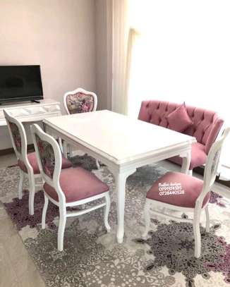 White table dining sets for sale in Nairobi Kenya/six seater dining table/chesterfield dining chairs image 1