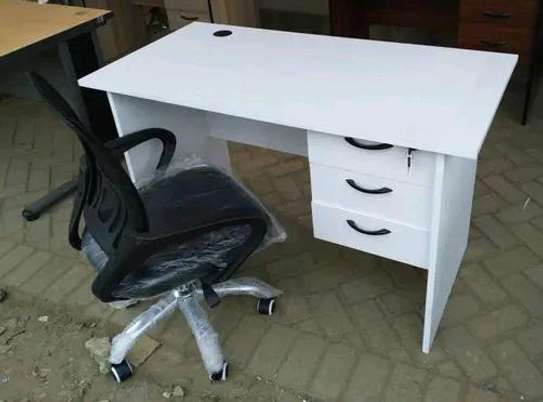 An office home desk with a chrome base office chair image 1
