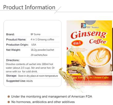 4 in 1 Ginseng Coffee; 20 Sachets/ Box, by BF Suma image 2