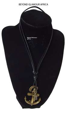 Black Leather Neck piece with Anchor pendant image 1