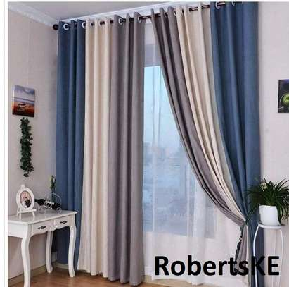 blue cream polycotton curtain