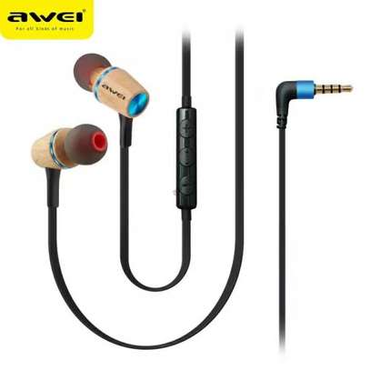 Awei ES80TY Wooden Dynamic Earphones In Ear Stereo Subwoofer Bass, Mic image 6