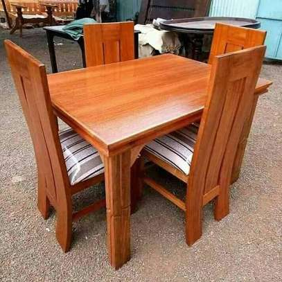 Four seater mahogany-made dining sets image 1
