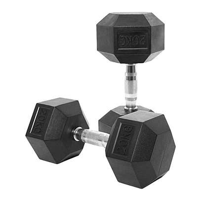 (Hexagon Shaped and Rubber Round Dumbbells Gym Fitness image 2