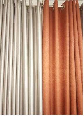 plain brown and orange curtains image 1
