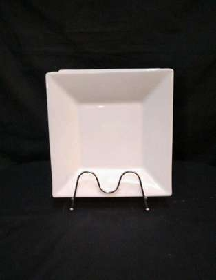 Square dinner plate white deep1pc