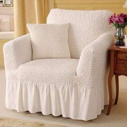 stretchable sofa cover 5 seater white image 1