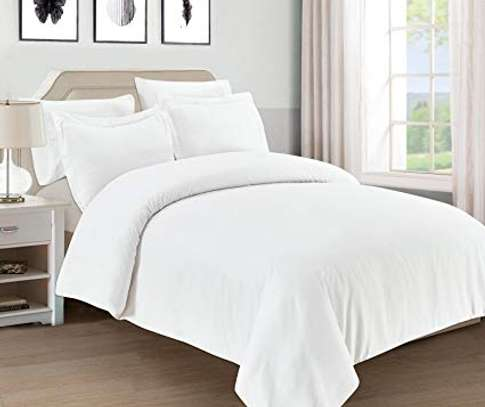 4 PC WHITE PURE  COTTON BED SHEET image 1