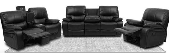 Black recyliner sofa image 1