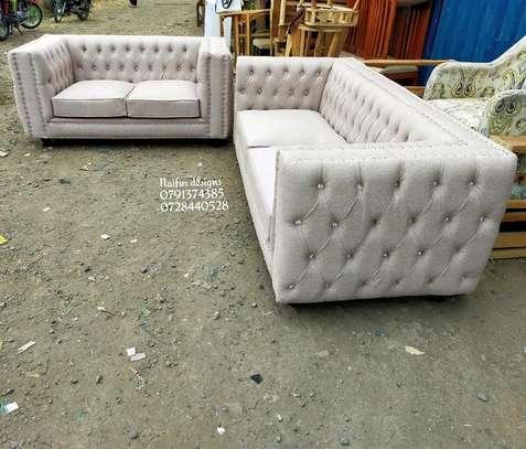 Three seater plus two seater tufted sofa/tufted sofas/Modern sofas image 2