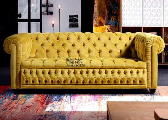 Yellow couch/modern sofas/three seater chesterfield sofas image 1
