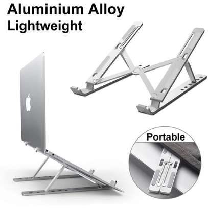Adjustable Laptop Stand For Desk, Portable Laptop Stand, Aluminum Ventilated Computer Laptop Holder Riser For MacBook Air Pro Accessories, Ipad Tablet Stand,7 Height,10-15.6'' Notebook And Tablet image 3