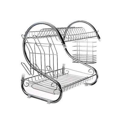 Nunix 2 Tier Dish Rack Stainless Steel, With Drain Board image 2