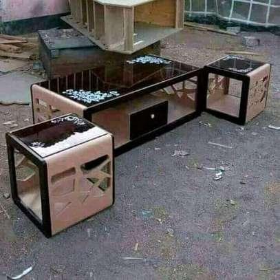 Beautiful Modern Quality Coffee Table + 2 Stools image 1