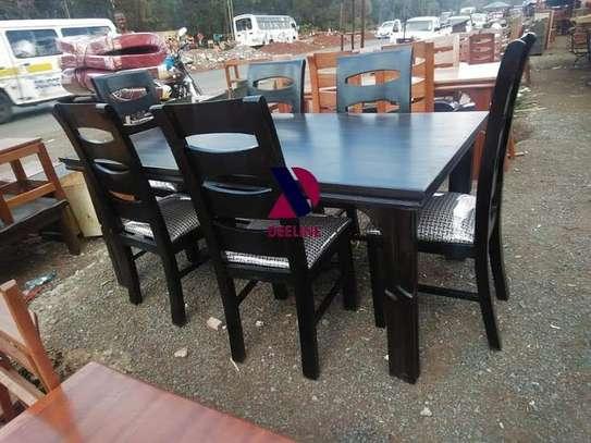 Black rectangular 6 seater dining table sets image 1