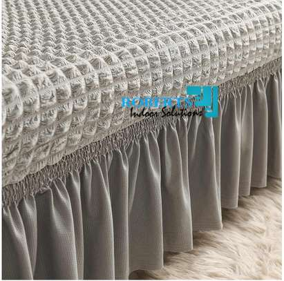 Light grey elastic sofa cover image 1