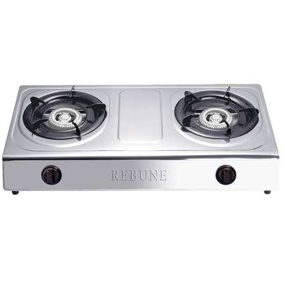 Rebune Stainless Steel Gas Stove, 2 Burner - Silver
