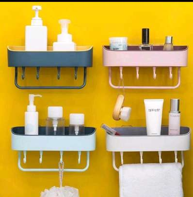 Bathroom shelf organizer with Towel holder image 1