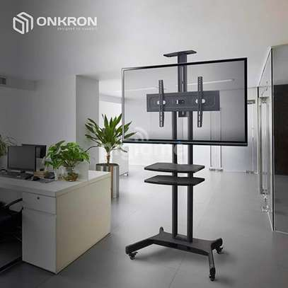 """ONKRON Mobile TV Stand TV Cart with Wheels & 2 AV Shelves for 32"""" – 65 inch LCD LED OLED Flat Panel Plasma Screens up to 100 lbs Black TS1552 image 8"""