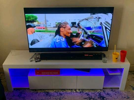 White TV Stand With LED lights image 1