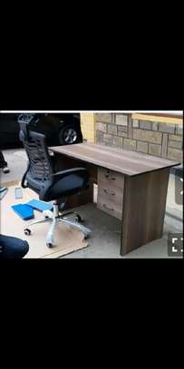 A workstations home office desk plus high end black office chair image 1