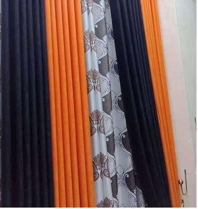 plain orange and black linen curtains image 1