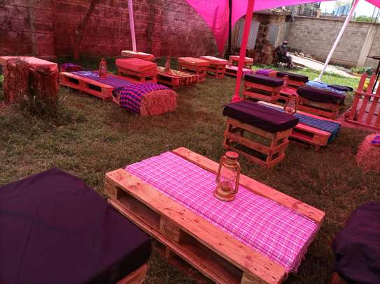 Wooden crates with cushions and pallets for hire image 1