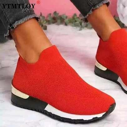 Red slip on sneakers image 1