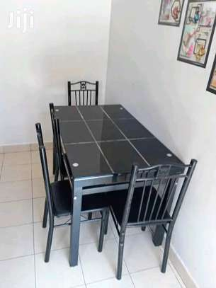 Black home dining table with chairs sold as a set G16S image 1