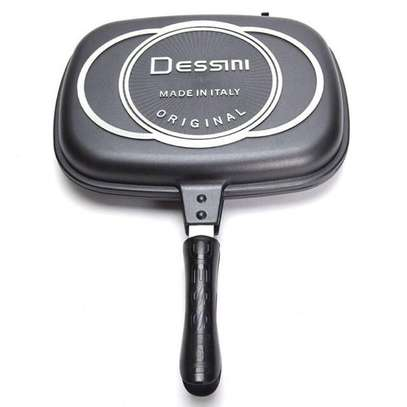1pcs x 36CM DESSINI DOUBLE SIDED PRESSURE GRILL FRYING PAN image 1