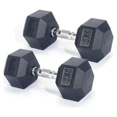 15KG Hex dumbbell pair fitness gym equipment image 2