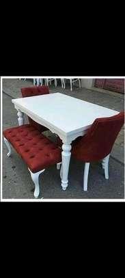 Stylish Modern Functional 6 Seater(4 seater+Bench) Dining Set image 2