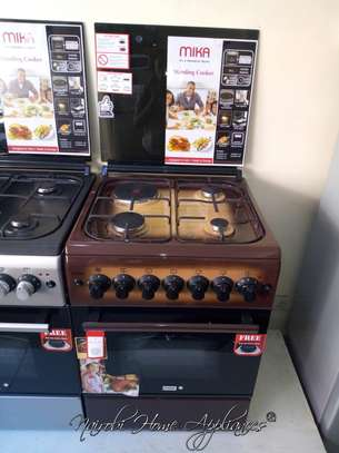 Mika Standing Cooker, 60cm X 60cm, 3 Gas + 1 Electric Plate, Brown image 1