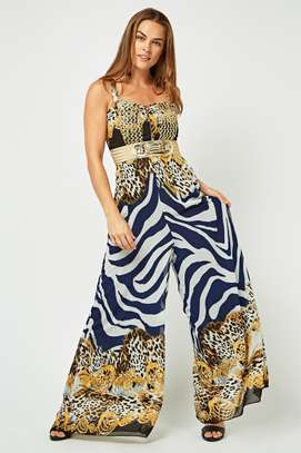 Printed Brocade Trim Chiffon Jumpsuit