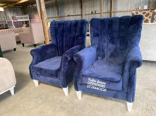 Blue velvet sofas/single seater sofas/wingback chair image 1