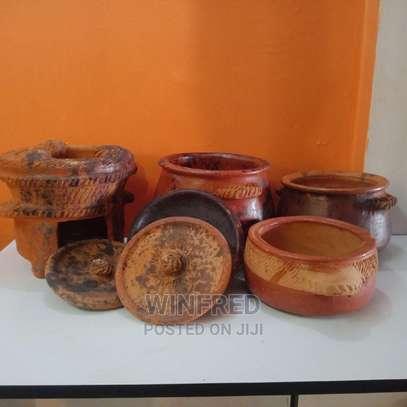 Pure Clay Cooking Serving Pots 3pcs Set +Jiko image 3