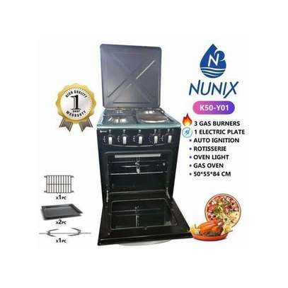 Nunix Free Standing Cooker 3+1Gas Burner + Oven Black image 1