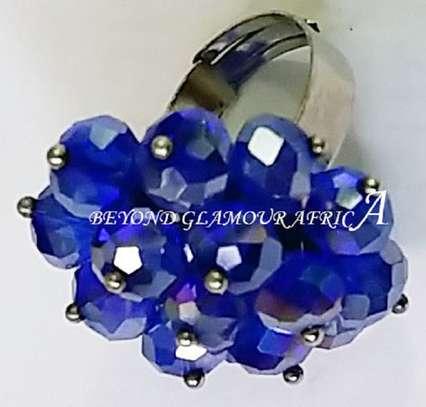 Blue Flower shaped Crystal  Ring Metal Band image 1