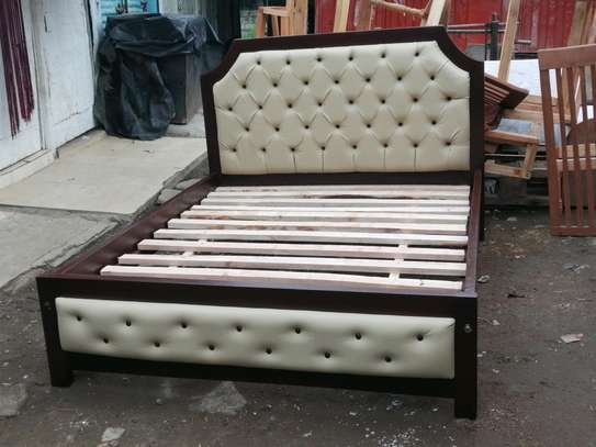 5 by 6 deep button leather bed image 1