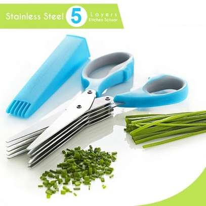 Stainless Steel 5 Shears Blade Cut Shredding Scissors Vegetable/Herb Kitchen Tool